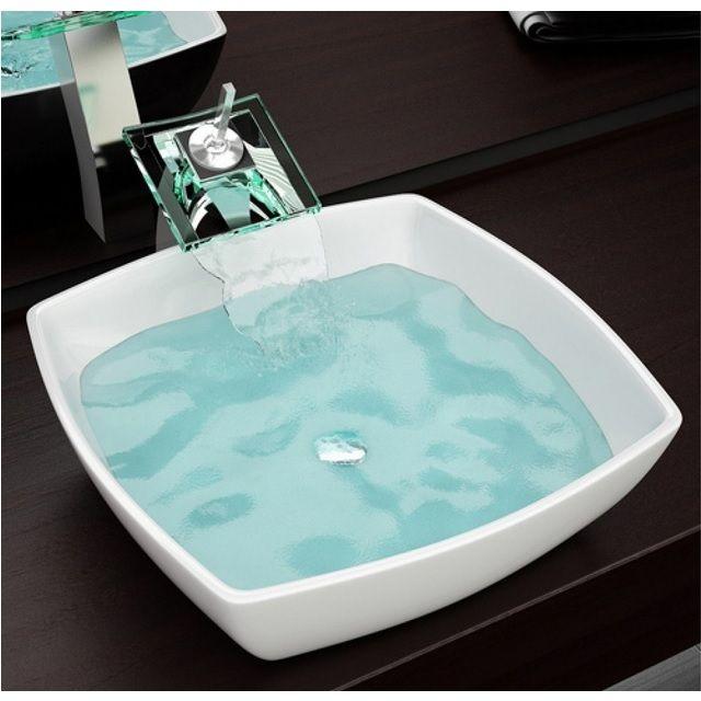 Lavabo da appoggio quadrato 42x42x13,5 in ceramica bianco modello zoe, miscelatore escluso