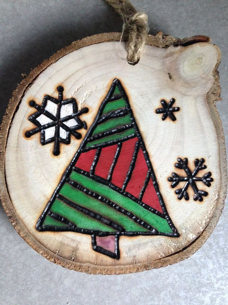 Rustic tree hand painted wood burned Christmas ornament - natural wood