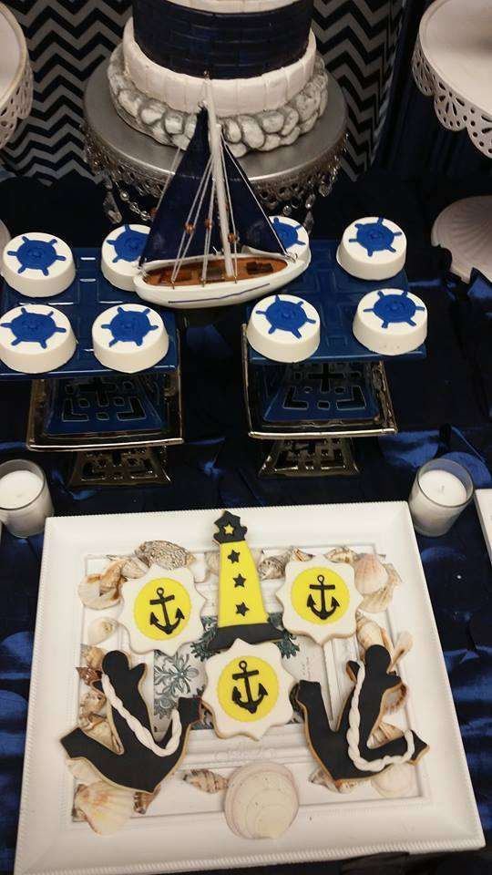 Nautical baby shower party cookies! See more party planning ideas at CatchMyParty.com!