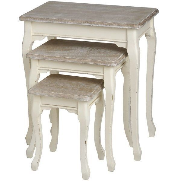 Lounge Furniture Pavilion Cream Shabby French Chic Nest Of Three Tables