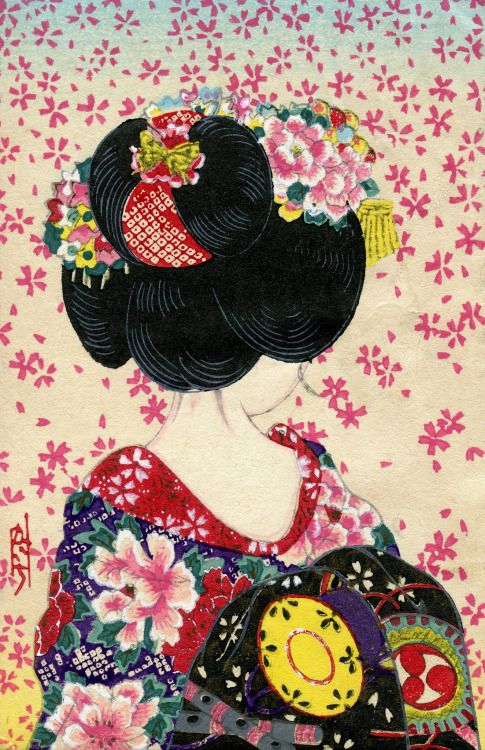 """cgmfindings: """"Сакура Фубуки - Душ вишни (1940)"""" Это японский гравюр открытку со всего 1940-х годов, показывая вид сзади девушка Майко (Apprentice Geisha) с Ware-Shinobu прическа.  """""""