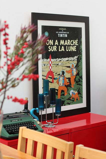 Tintin poster inside with vintage typewriter • Tintin themed interior design living room • Herge, Tintin et moi