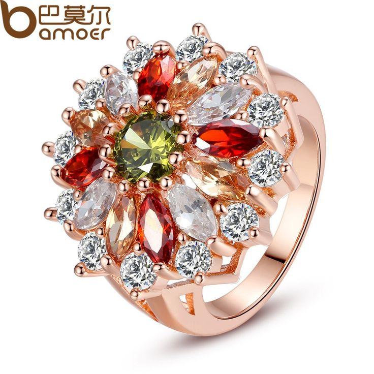 Лучшим Покрытием Из Розового Золота Кольцо для Женщин С Красочными Маркиза Камень CZ Лучшие Ювелирные Изделия Подарок XCLR017