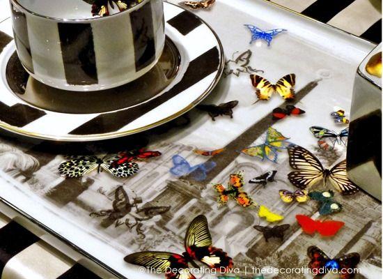Christian Lacroix Maison Porcelain Butterfly Serving Tray u0026 Striped Dinnerware for Vista Alegre | The Decorating & 9 best Christian Lacroix Butterfly Parade Tableware for Vista Alegre ...
