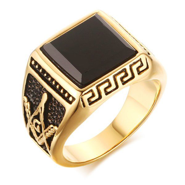 Simple Faux Onyx Square Shape Etched Geometric Ring For Men #hats, #watches, #belts, #fashion, #style