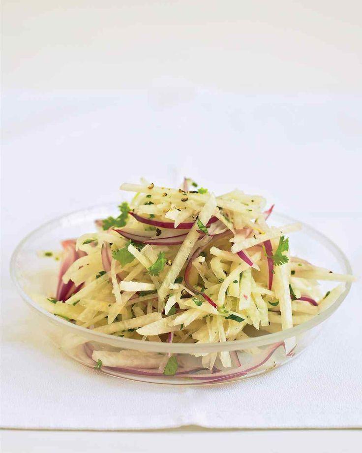 Jicama Slaw   Everyday Food -- Just 4 ingredients (plus salt and pepper) in this cool salad.