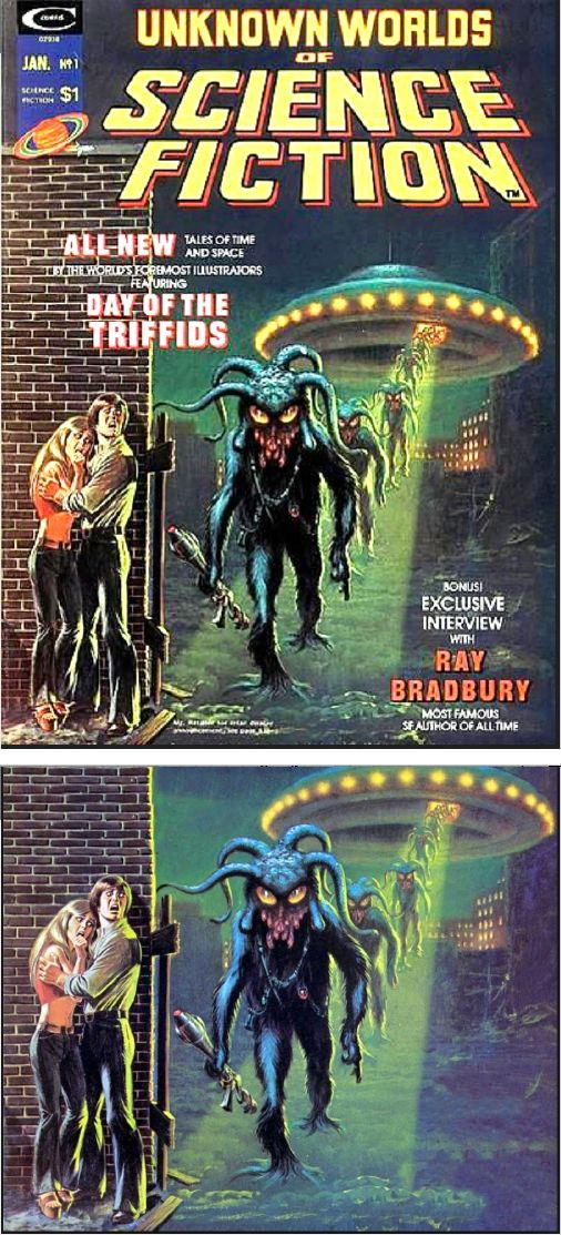 FRANK KELLY FREAS & John Romita - Day of the Triffids - Jan 1975 Unknown Worlds of Science Fiction - cover by Zak Zych - print by google
