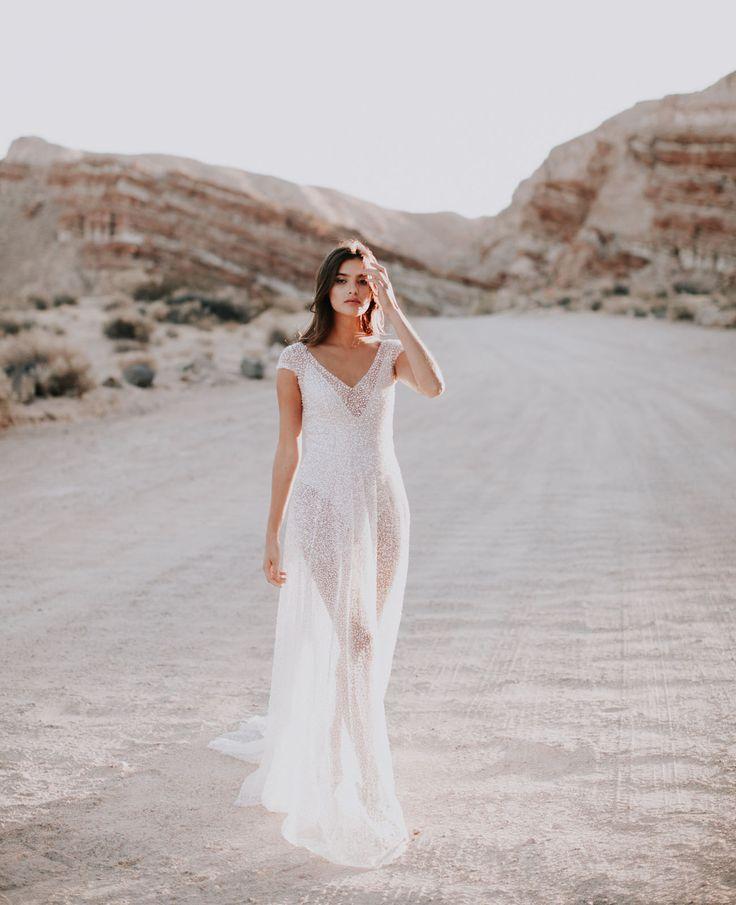 Beaded bohemian + romantic wedding dress by Australian designer Anna Campbell