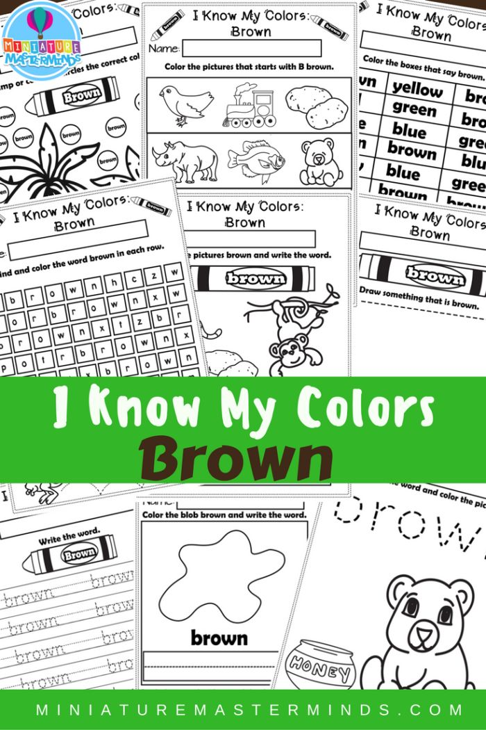 i know my colors printable work book series brown - Preschool Books About Colors