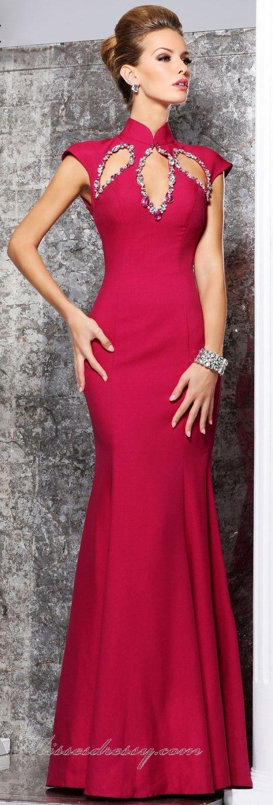 Tarik Ediz couture purple maxi dress