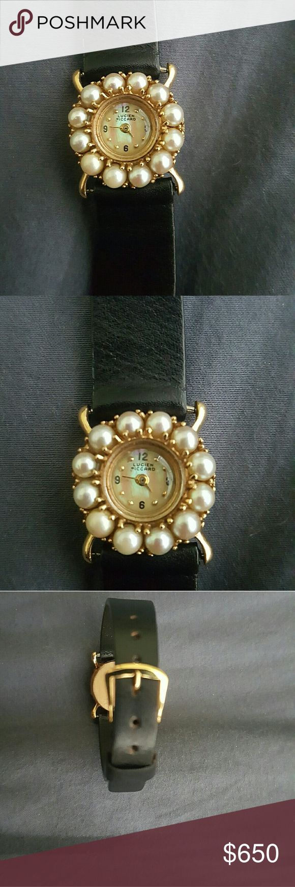 14kt Gold and Pearl Lucien Piccard Lady's Wristwat Vintage Lucien Piccard watch in excellent physical condition.   Currently not working. Lucien Piccard Jewelry