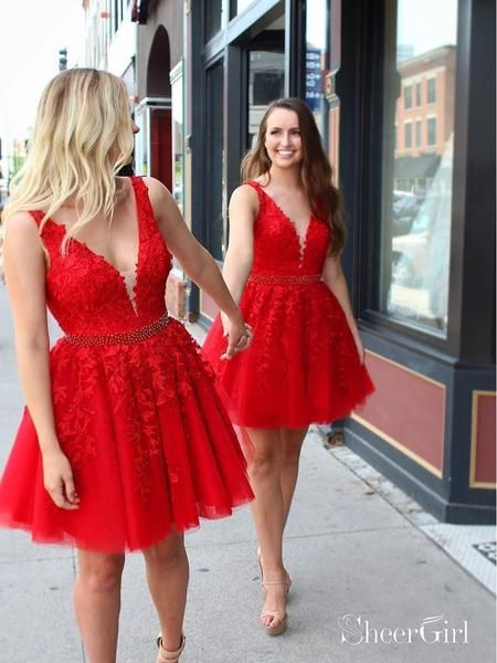 b096f9e16c3 Red Lace Applique Homecoming Dresses V Neck Tulle Short Prom Dress ARD1473- SheerGirl