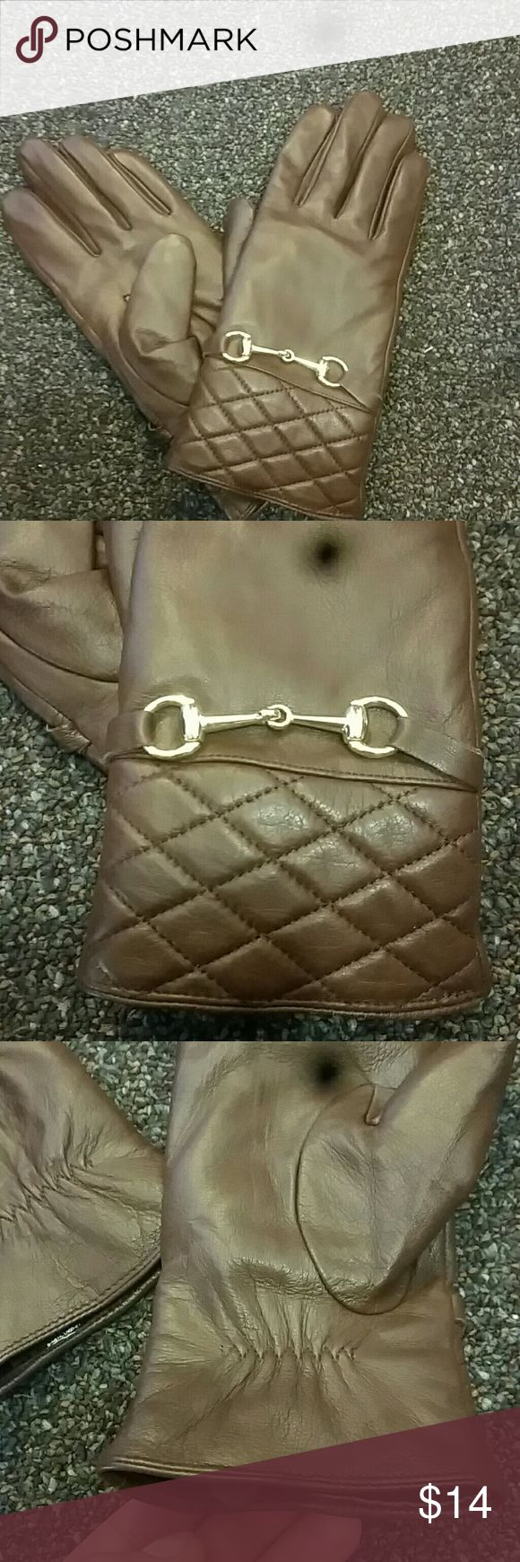 Ladies leather gloves with thinsulate - Nwot Sheep Leather Dark Brown Gloves