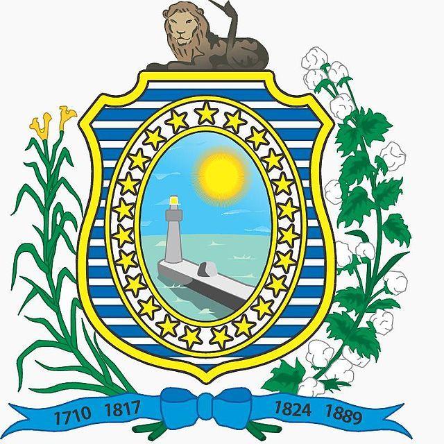 Brazilian Coat of Arms - State of Pernambuco - Foi oficializado pelo em 1895. Leão - bravura do povo pernambucano - Ramos de algodão e de cana-de-açúcar - riquezas - Sol - luz cintilante do Equador Estrelas - municípios Ainda estão no brasão o mar e o farol de Recife. Na faixa, aparecem as datas históricas mais importantes do estado: 1710 (Guerra dos Mascates), 1817 (Revolução Pernambucana), 1824 (Confederação do Equador) e 1889 (Proclamação da República).