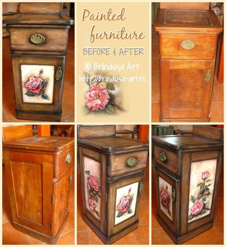 Brîndușa Art Before and after: reconditioned and painted furniture - unique. Cabinet over 100 year old... Vintage look, roses... Înainte şi după: mobilă pictată şi recondiţionată - unicat. Noptieră veche de peste 100 de ani. Trandafiri, aspect vintage... #paintedfurniture #vintage #roses