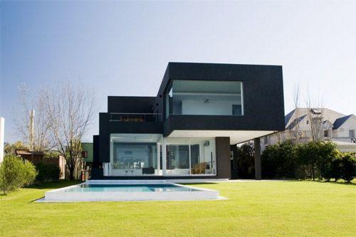 piscine maison cubique noir