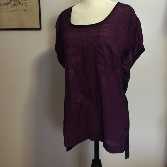 Converse Semi Sheer Top- Lge Lightweight fabric & hi- lo hemline! Front & sleeves are a lovely plum color & the softest viscose- the back is semi- sheer black nylon! Excellent condition  Converse Tops Tunics