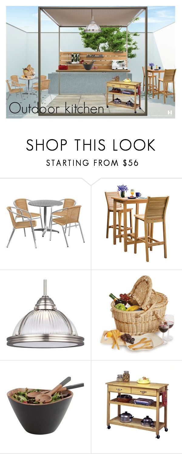 """outdoor kitchen"" by irina-demydovych ❤ liked on Polyvore featuring interior, interiors, interior design, home, home decor, interior decorating, Oxford Garden, Sea Gull Lighting, Home Styles and kitchen"