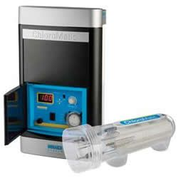 ChloroMatic: Reverse Polarity Salt Chlorinator (MCS16C) ChloroMatic: Reverse Polarity Salt Chlorinator ECSC with battery backup time clock and reverse polarity cell. Enjoy the convenience of automated pool salt chlorination and the feel of a naturally clean and sparkling pool, with the renowned reliability and ultimate simplicity of the ChloroMatic.