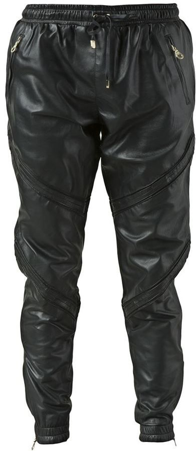 €1,510, Pantalon de jogging en cuir noir. De farfetch.com. Cliquez ici pour plus d'informations: https://lookastic.com/men/shop_items/84569/redirect