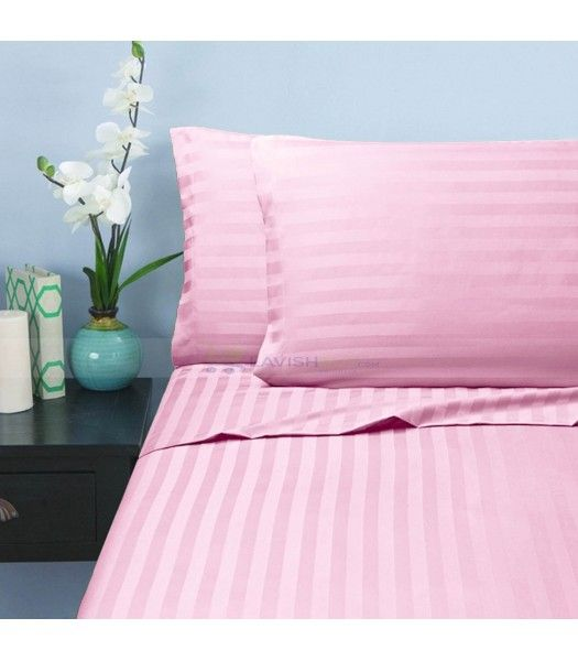 Pink Stripe Twin XL Sheet Set Egyptian Cotton 1000 Thread Count