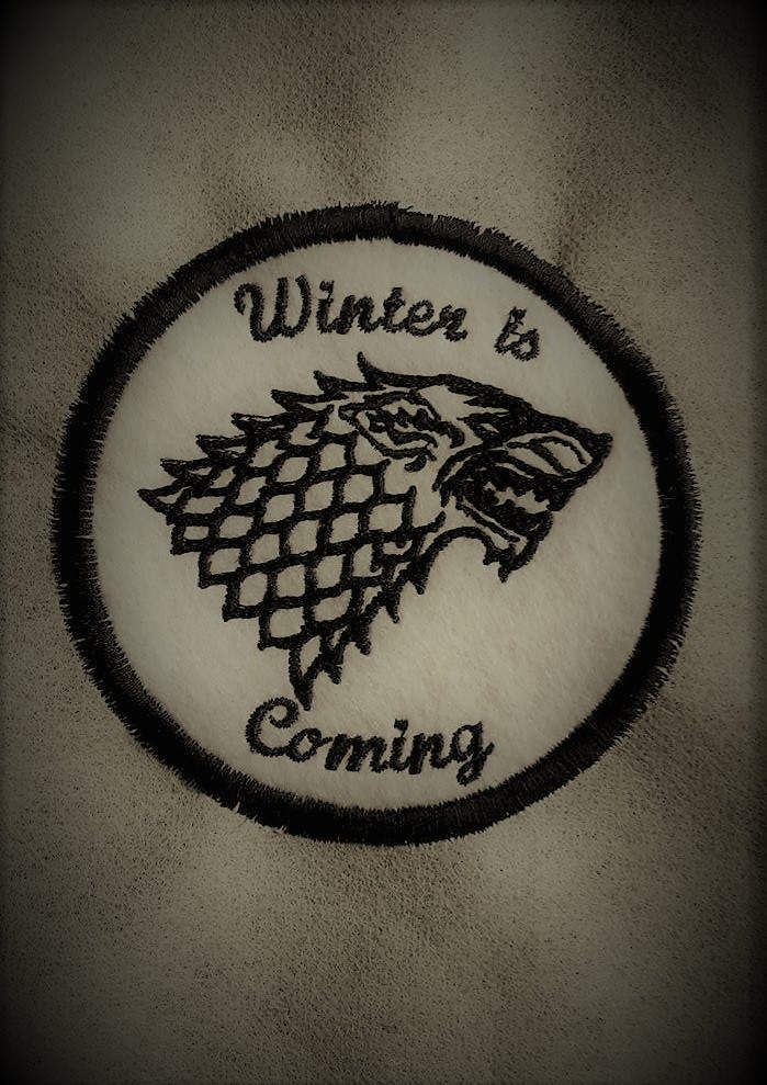 Game of Thrones, 'Winter is coming',  House Stark, Direwolf, round patch patches UK by DexyAndTheWolf on Etsy