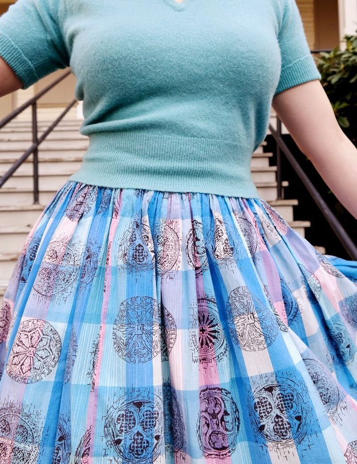 Vintage skirt - block print over a large plaid fabric? So neat!