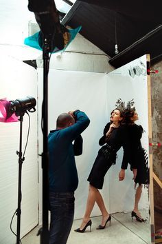 Gel lighting setup at Rossella Vanon fashion photography workshop in London, UK.