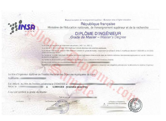 Diplome D'Ingenieur France Limoges Vienne Haute - French Fake Diploma Sample from PhonyDiploma