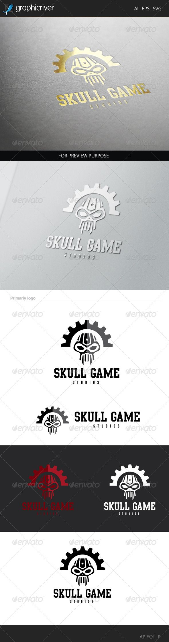 Skull Game - Logo Design Template Vector #logotype Download it here: http://graphicriver.net/item/skull-game-logo/8505926?s_rank=1073?ref=nesto