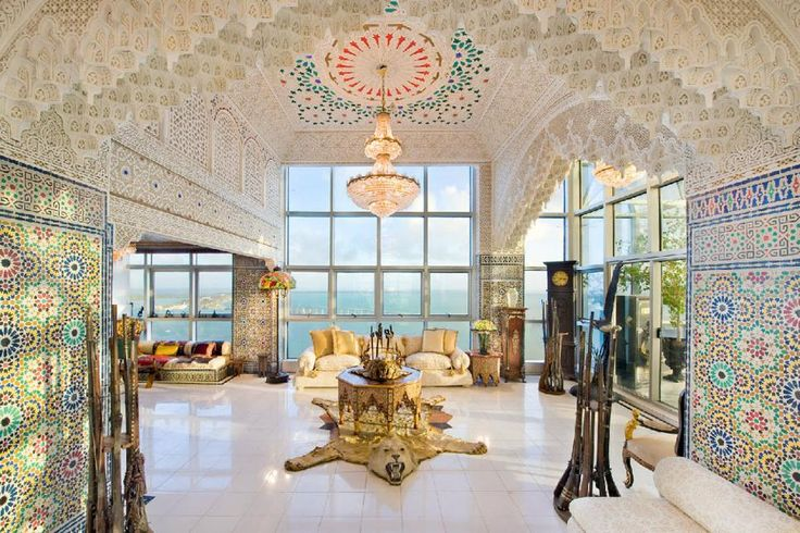 Saudi Shiek Saoud Al-Shaalan hired 27 Moroccan artisans and craftsmen to transform this Miami penthouse into an over-the-top, Arabian-style palace with architectural elements similar to the Taj Majal in India.