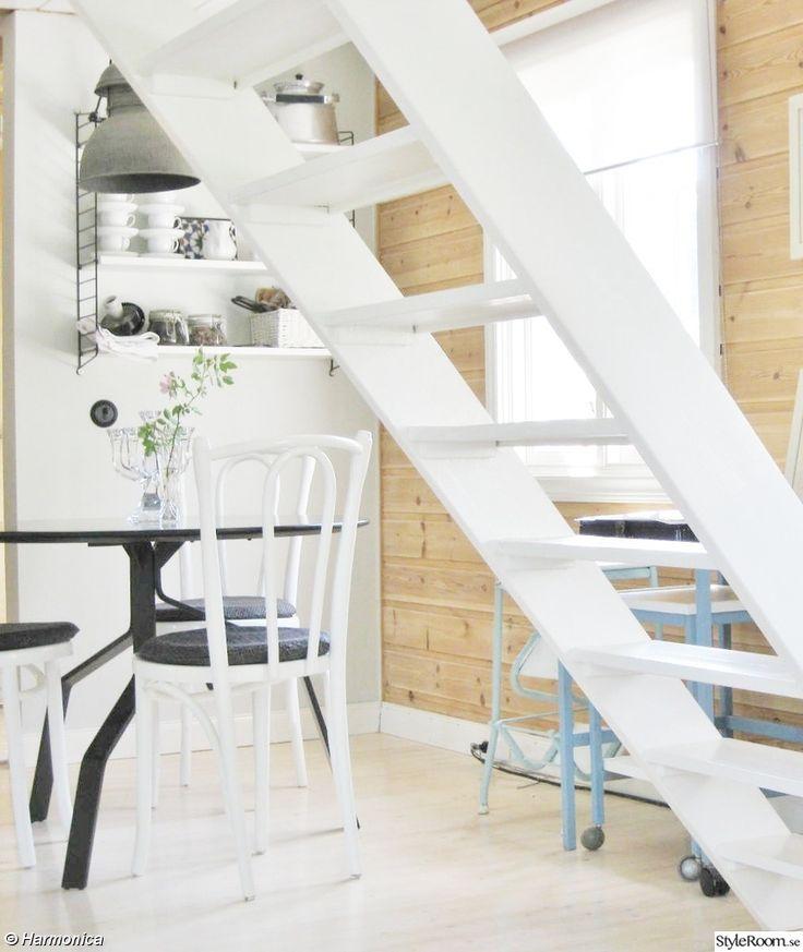 matplats,lampa,industri,stringhylla,vit matbord,habitat,svart,böjträstolar,vittrappa. loft