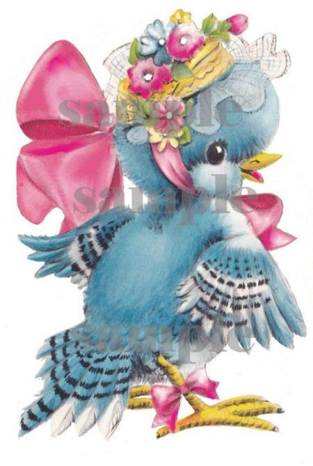 Vintage Blue birds, Birthday girl and no birthday girl, digital, download, printable, greeting card image. $3.50, via Etsy.