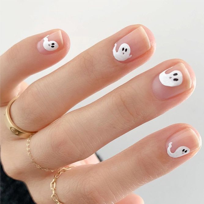Black White Striped Ghost Nails Halloween Nails Easy Cute Halloween Nails Halloween Nail Art Easy