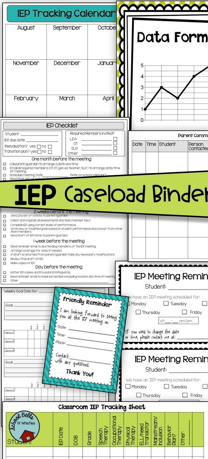 Organize and manage your IEP caseload with this IEP binder! Binder includes checklist, data forms, assessments, reminder notices, contact list, goal and benchmark forms, and more!