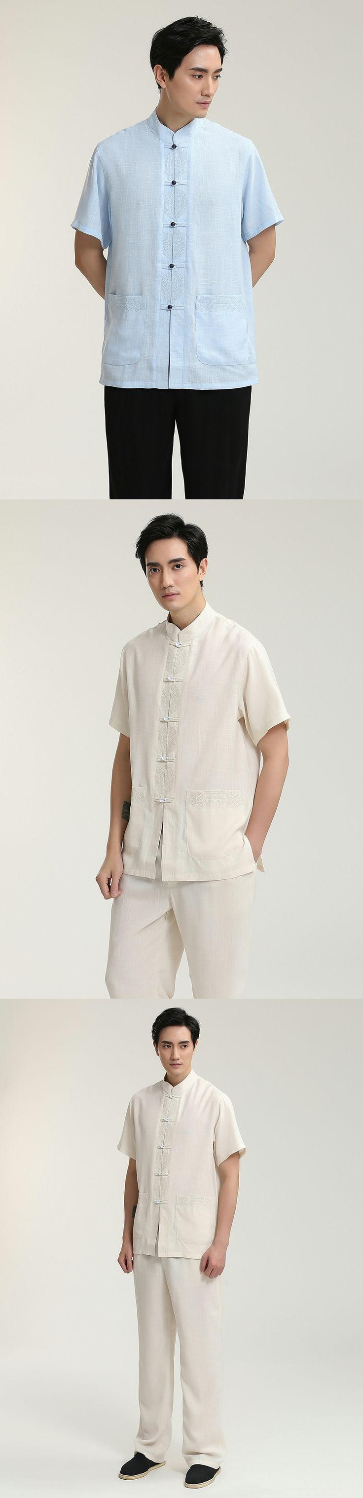 Beige Linen Shirts Men Short Sleeve Summer 2017 Chinese Style Clothing Standard Collar Tang Tops Plus Size Men's Casual Shirt