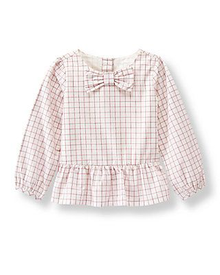 Windowpane Peplum Top - Estate Stables