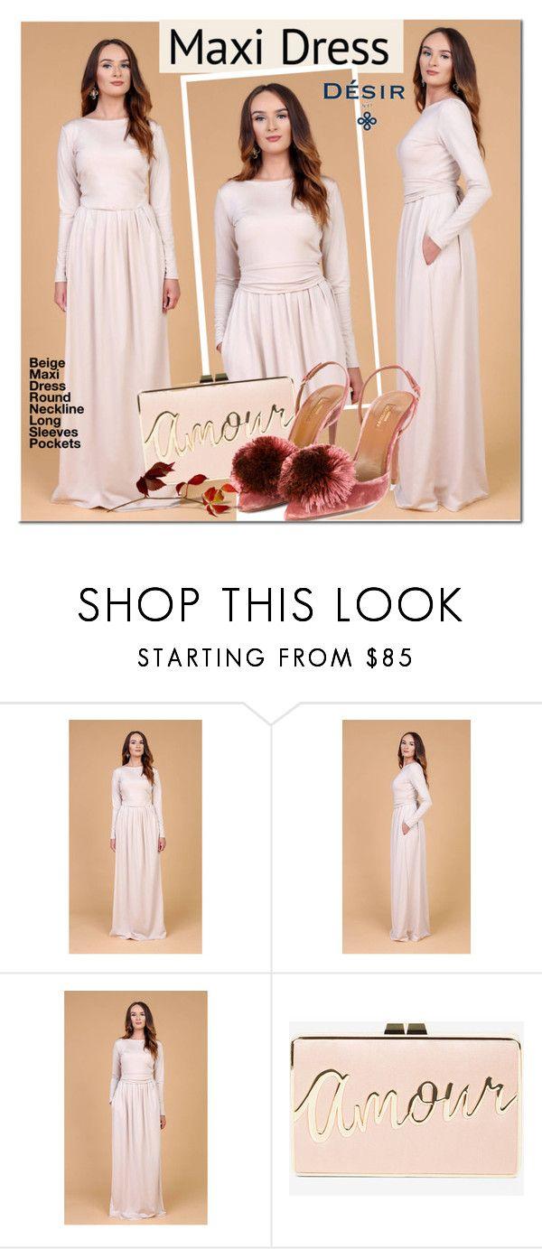 Desir Vale Beige Maxi Dress by mada-malureanu on Polyvore featuring Aquazzura, BCBGMAXAZRIA, dress, maxidress, longsleeve, dreamydress and DesirVale
