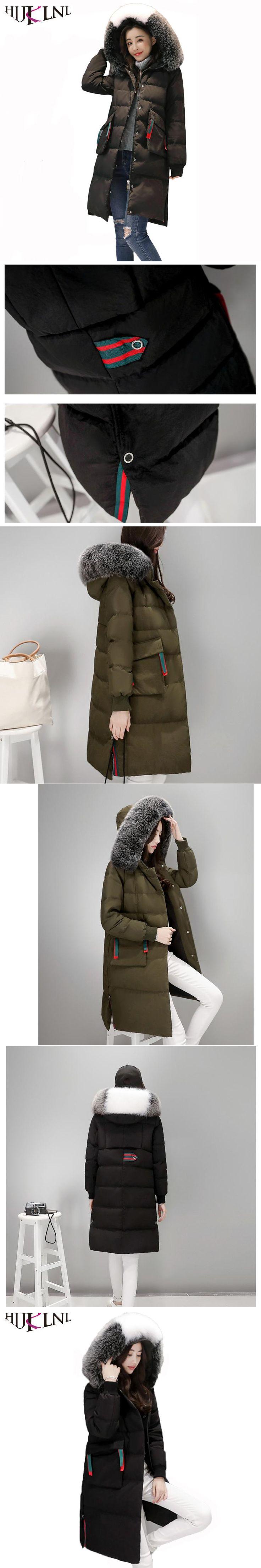 HIJKLNL 2017 Fashion Women Down Jacket Parka Winter Long Hood Fur Collar Feather Down Jacket Windbreaker camperas de pluma QN473