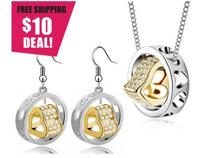$10 for a Gold-in-Silver Heart Pendant and Earrings Set Made with Swarovski Elements