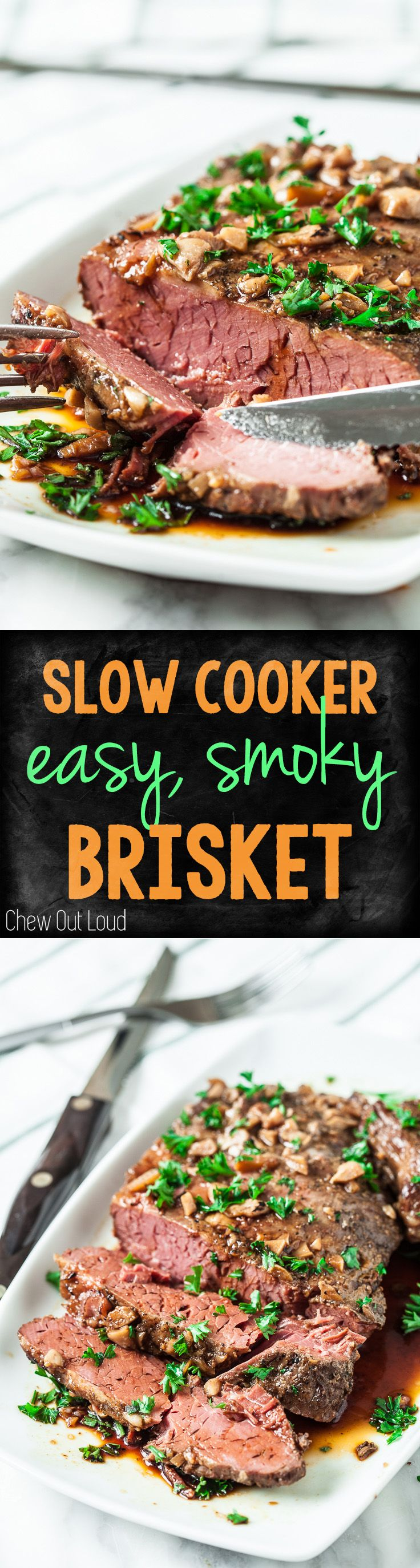 """Super easy, mess-free, and fork-tender """"smoked"""" brisket! Perfect for busy days.  #beef #dinner"""