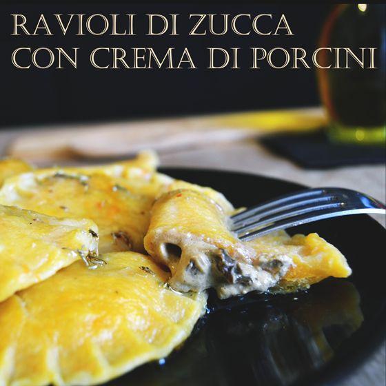 Ravioli di zucca allo zafferano con crema di porcini #ricette