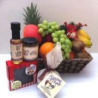 The Pudding Lady Christmas Hamper with Fruit in a Basket