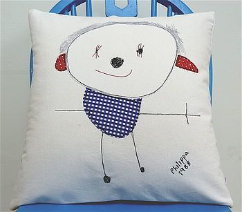 Turn your kids favourite drawing into a cushion. By LoveBox Design