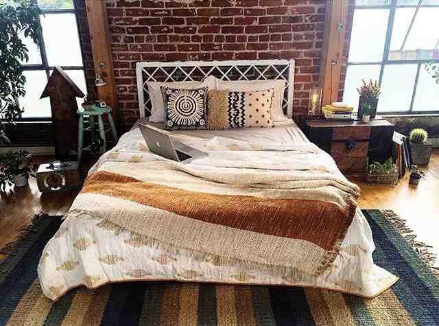 Brick wall of a loft bedroom