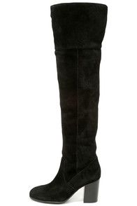 """Fashion trends ebb and flow, but the Jessica Simpson Ebyy Black Suede Leather Over the Knee Boots are forever cute! These tall, genuine suede boots rise from an almond toe into a 22"""""""" shaft with a notched collar. Shaft has a 15"""""""" circumference below the knee. #CuteDresses #TrendyTops, #FashionShoes #JuniorsClothing"""