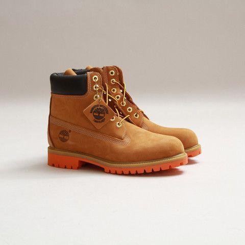 """GetSetNYC - Timberland Men's 6"""" Premium Boot - Orange Bottom"""
