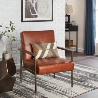 Jasper Laine Retro Steel Tan Leather Armchair | Tan ...