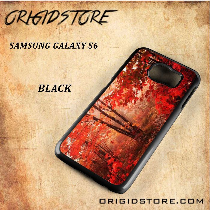 Large Autumn Red Forest Black White Snap On 3D For Samsung Galaxy S6 Case