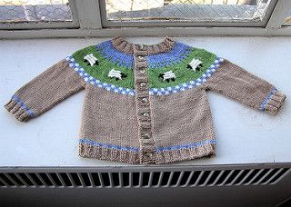 This sweater was inspired by one in Gibson-Roberts' and Robson's Knitting in the Old Way. This version is much simplified and resized for baby.